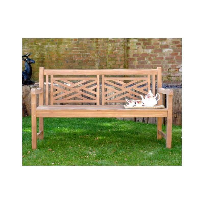 Oxford Cross Weave Back Teak Garden Bench 150Cm - Garden Benches