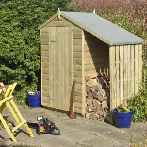Rowlinson Oxford Shed And Log Store - Wooden Garden Sheds