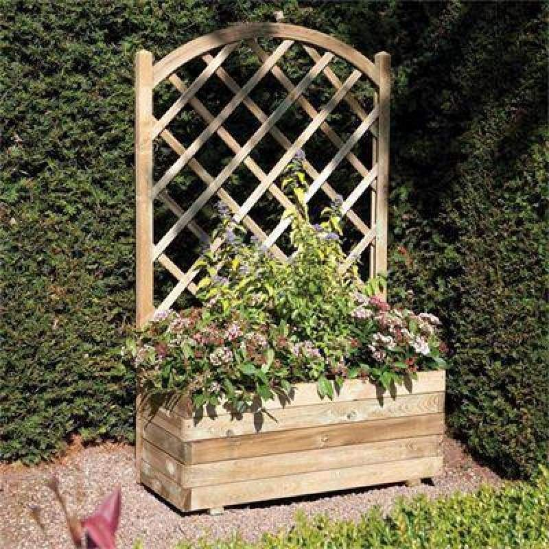 Rowlinson Rectangular Planter And Lattice - Garden Planters