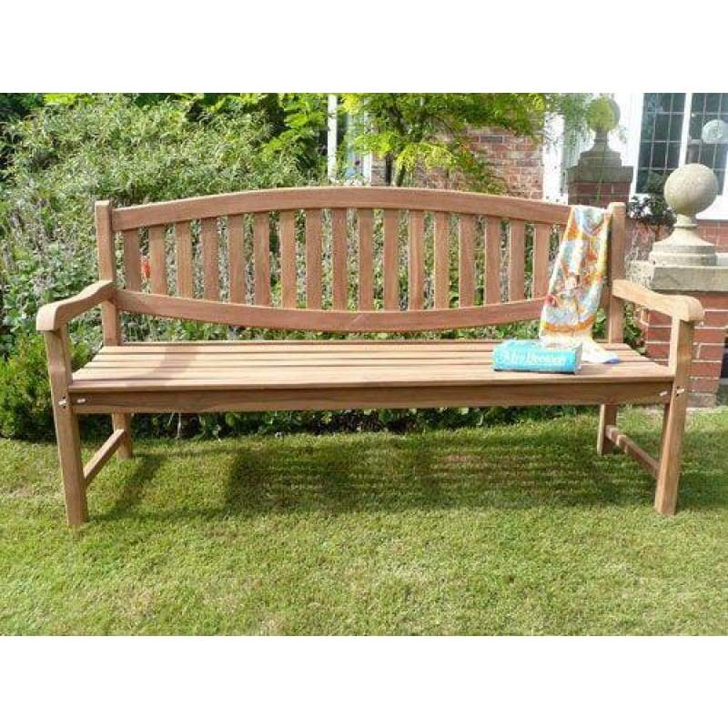 Windsor Curved Back Solid Teak Bench - Garden Benches
