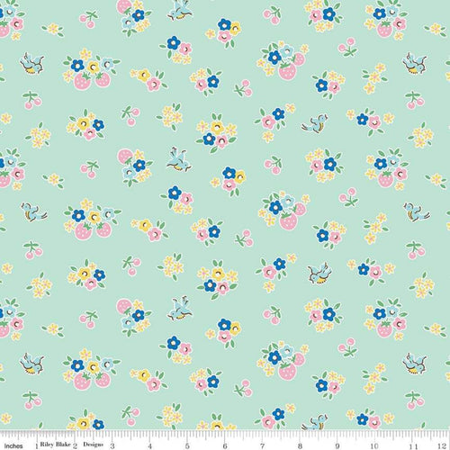 Bluebirds on Roses Floral Mint