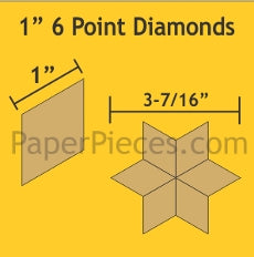 "1"" 6 Point Diamond - 75 Paper Pieces"