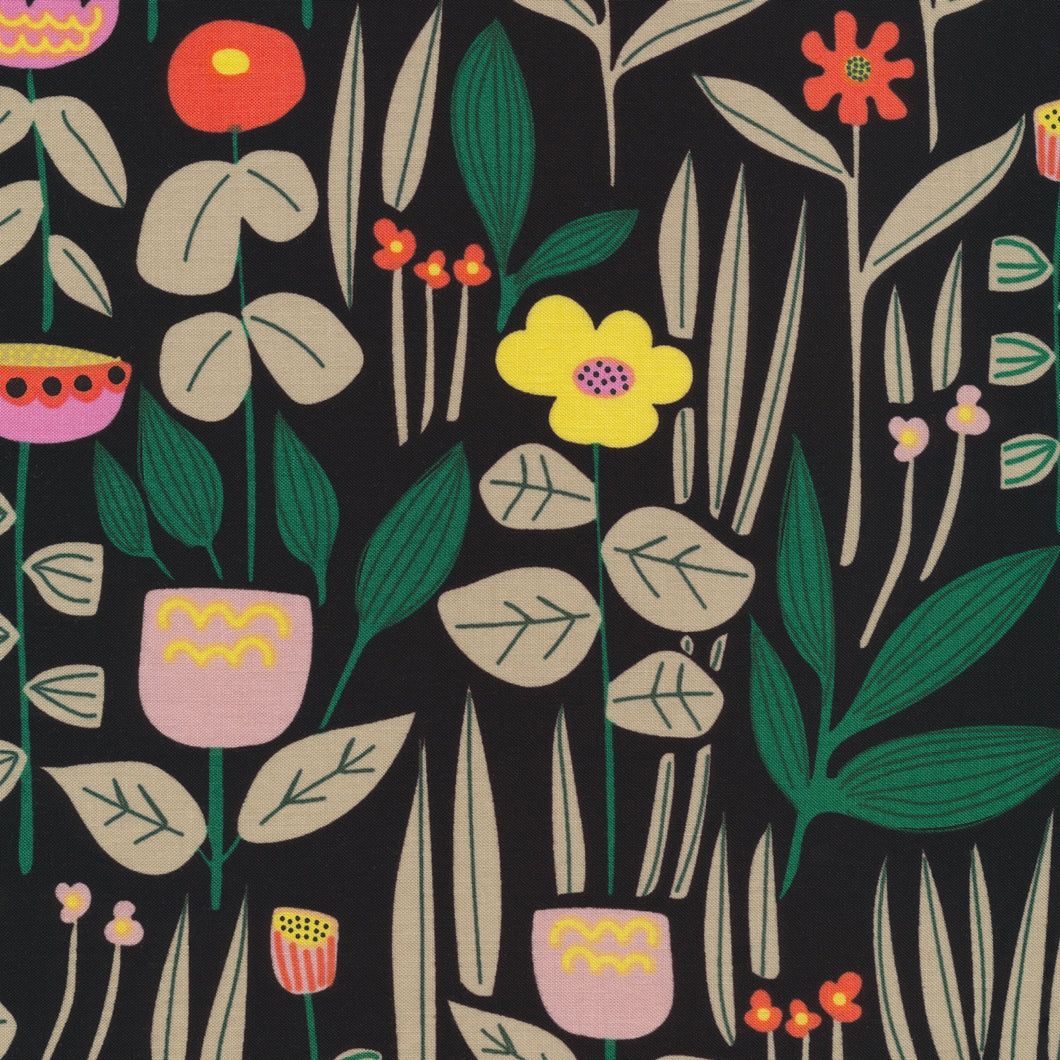 Wild Maru on Black by Leah Duncan for Cloud 9 Organic Cotton