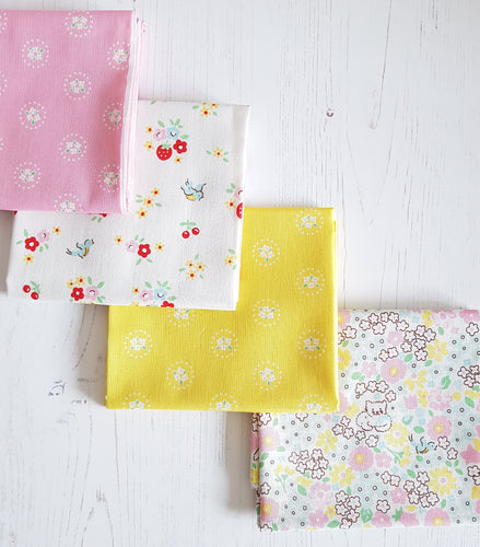 Bluebirds on Roses FQ Bundle - Pink and Yellow