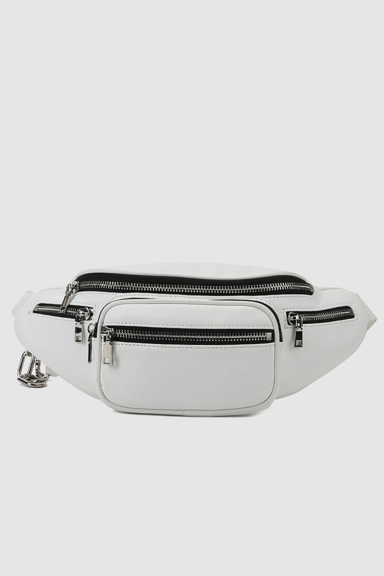 PopBae Women's Fanny Pack With Adjustable Strap Silver Chain In Black White
