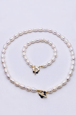 PopBae Women's Pearls Necklace&Bracelet Set Natural Freshwater Pearls Choker