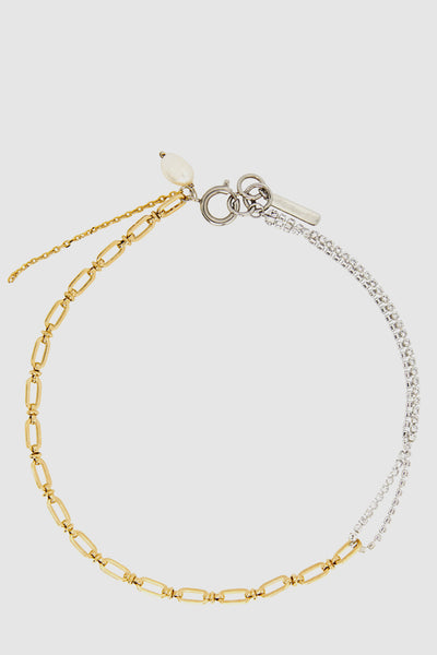 Women's Gold-Tone Chain Crystal Choker With Natural Freshwater Pearl Drops