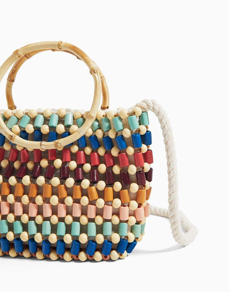 PopBae Women's Wood Beaded Handbag With Cotton Strap&bamboo Handle