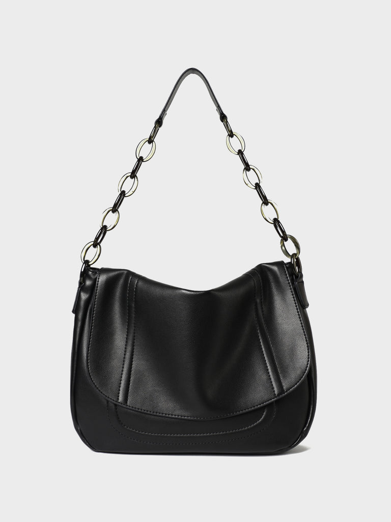PopBae Women's Soft Leather Shoulder Bag With Chain Strap Flap Top Satchel Handbag In Black