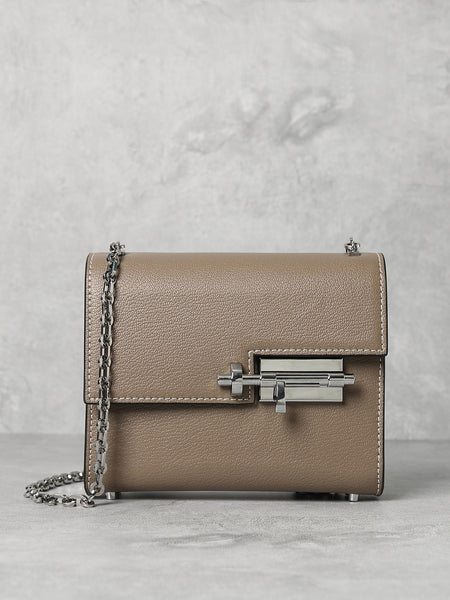 PopBae Women's Square Mini Handbag Flap-top Shoulder Bag With Silver Chain In Tan