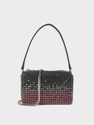 PopBae Women's Glitter Mini Handbag Diamond Embellishment Grap Square Bag With a handle & Detachable Strap