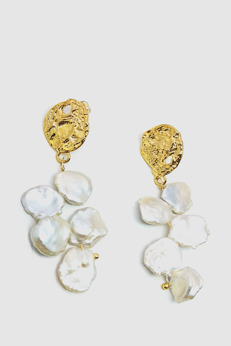 PopBae Women's Baroque Natural Pearl Drops Earrings With Gold Embellishment