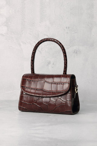 Women's Crocodile Embossed Mini Croc-Effect Leather Tote Bag Top Handle In Brown Pink White