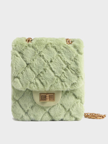 PopBae Women's Mini Bag Fur Quilted Design With Golden Chain Strap In LightGreen