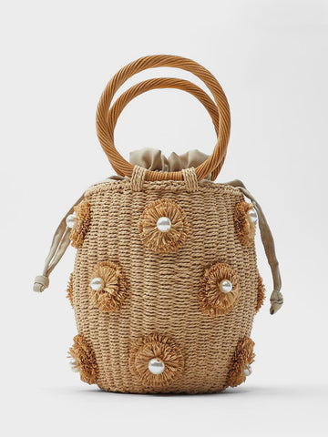 Women's Summer Straw Braided Bag Open-top Petit Bucket Handbag Round Handle Pearls Embellishment
