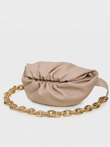 Women's Puffy Fanny Pack Cute Soft Leather Pouch Ruched Belt Bag Chunky Golden Chain