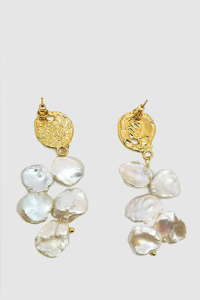 Women's Baroque Natural Pearl Drops Earrings Gold Embellishment