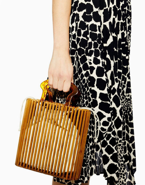 PopBae Women's Accessories Rectangular Bamboo Bag With Tortoiseshell Handle