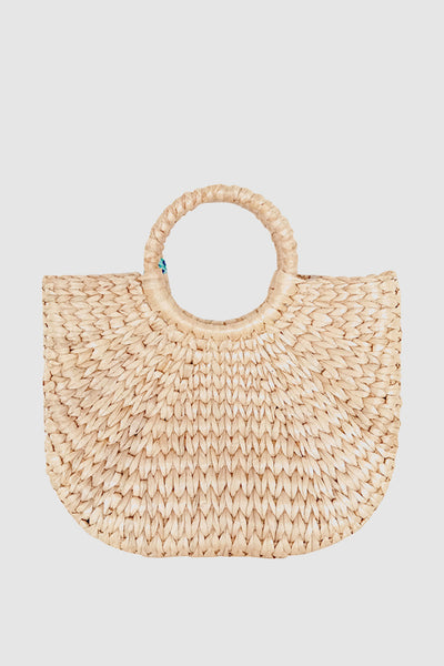 PopBae Women's Straw Tote Bag Open-top Bucket With Hairball Tassel In Tan