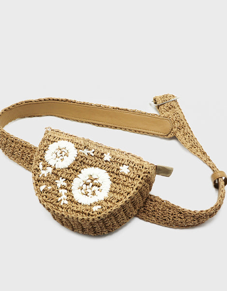 Women's Braided Natural Straw Fanny Pack Floral Waist Bag