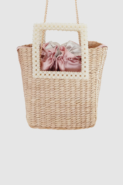 PopBae Women's Straw Tote Bag Open-top Bucket With Pearl Handles In Tan
