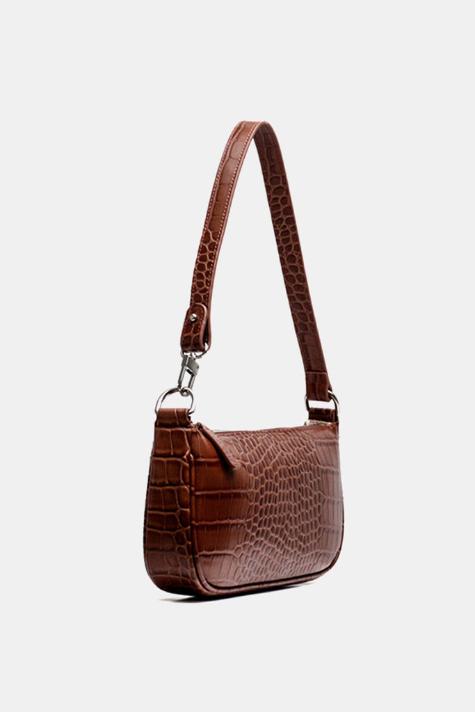 PopBae Women's Croc Effect Shoulder Bag 90s Baguette Handbag In Maroon