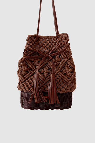 PopBae Women's Open-top Rattan Weave Bucket Bag With Tassel Leather Strap