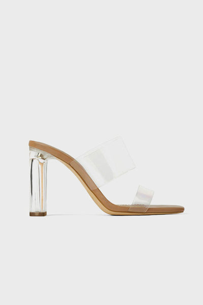PopBae Women's Clear Heeled Sandals In Nude