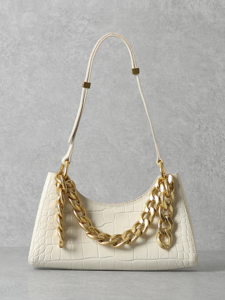 Women's Froggy Shoulder Bag Croc Effect Baguette Bag Gold Chain In White