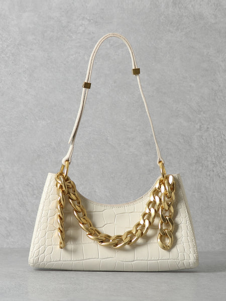 PopBae Women's Croc Effect 90s Baguette Shoulder Bag With Gold Chain In Brown