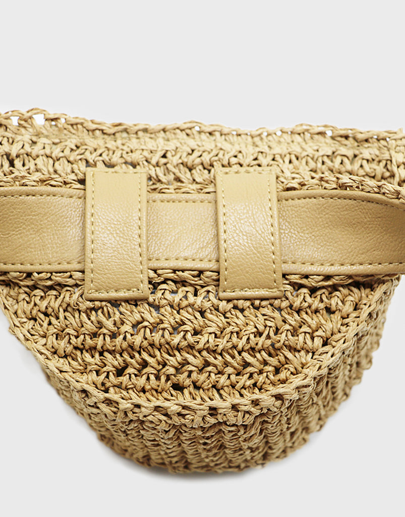 PopBae Women's Natural Straw Bumbag With Waist Strap And Floral Detail