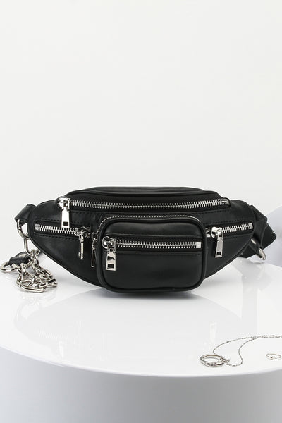 Women's Leather Fanny Pack Adjustable Strap Silver Chain