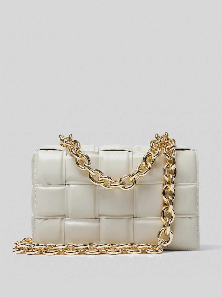 Women's 2021 Cloud Clutch Rhinestone Chunky Chain Pouch Ruched Dumpling Bag Soft Leather Shoulder Bag In Ivory