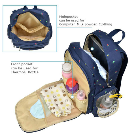 Motherly Diaper Bag with Accessories - Blue,Flower