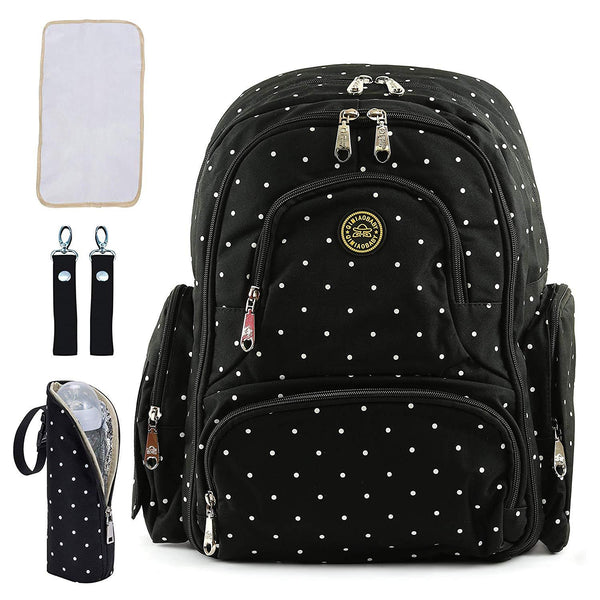 Diaper Bag with Accessories - Black,White Dot