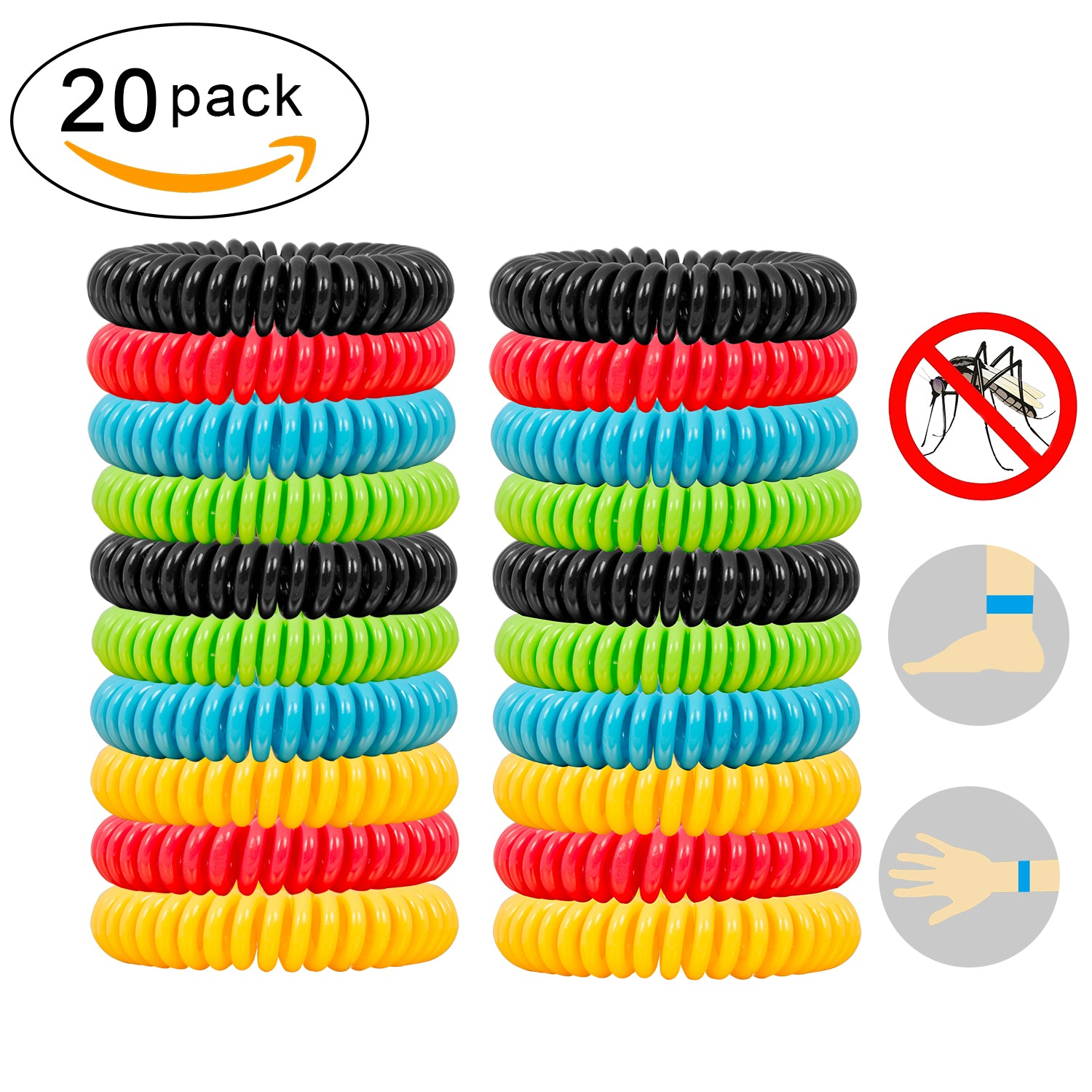 Natural Mosquito Repellent Bracelets Suhleir 20 Pack And 6 Patch Repeller Insect Bug Electronic Kit Waterproof Protection Up To
