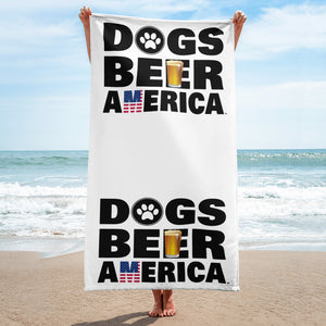 Dogs Beer America Beach Towel