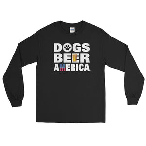 Dogs Beer America Long Sleeve Black T-Shirt