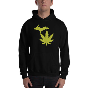 Michigan Marijuana Textured Print Hooded Sweatshirt (2 Colors)