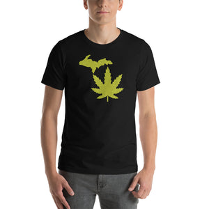 Michigan Marijuana Textured Print Short-Sleeve Unisex T-Shirt (2 Colors)