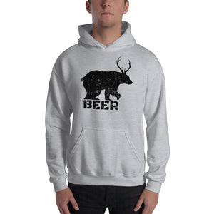 Bear With Deer Antlers Beer Textured Print Hooded Sweatshirt (5 Colors)