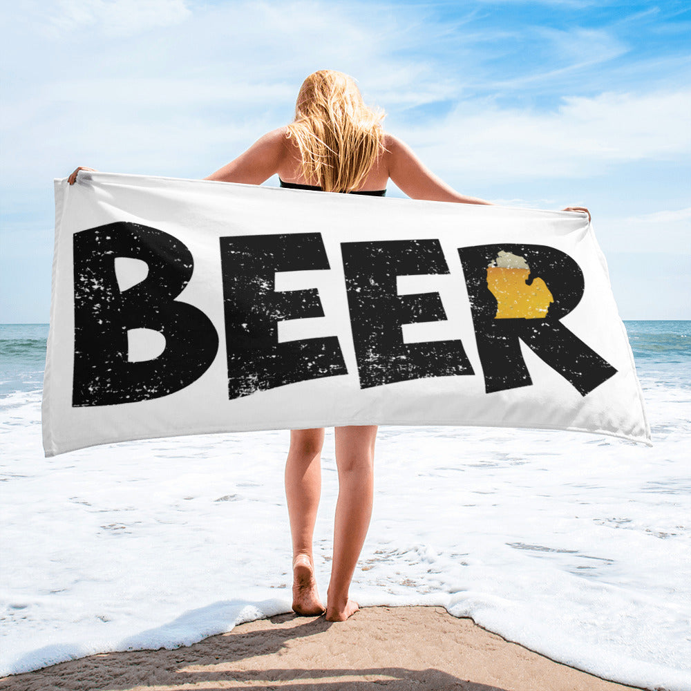 Textured Print Michigan Beer Beach Towel