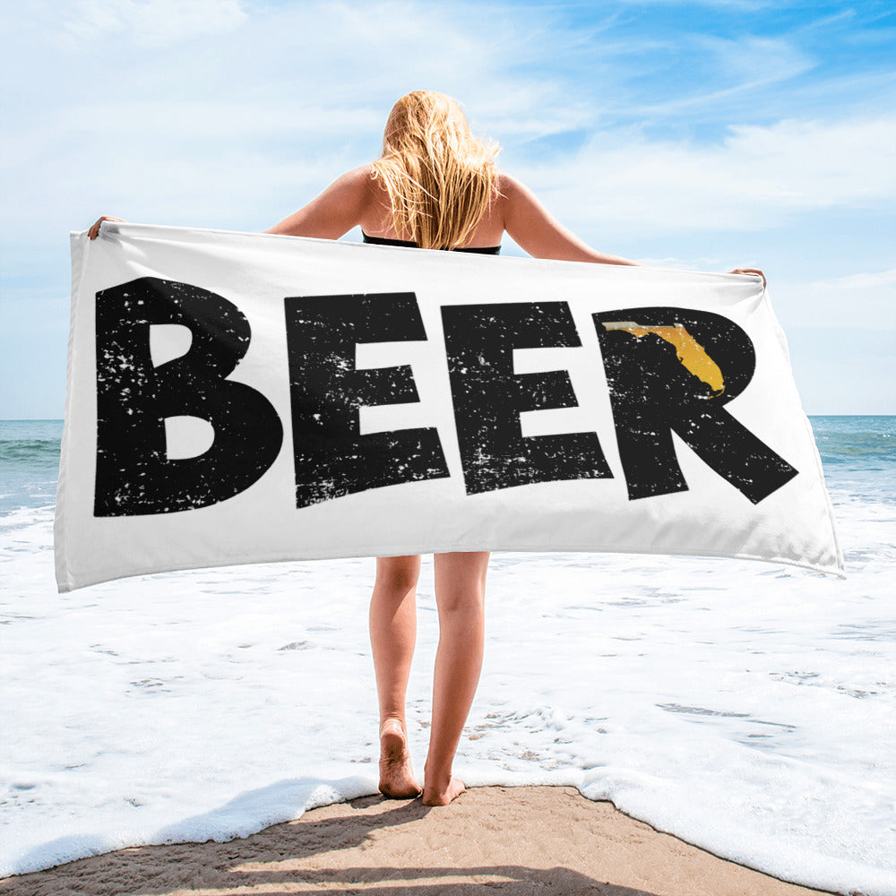 Textured Print Florida Beer Beach Towel