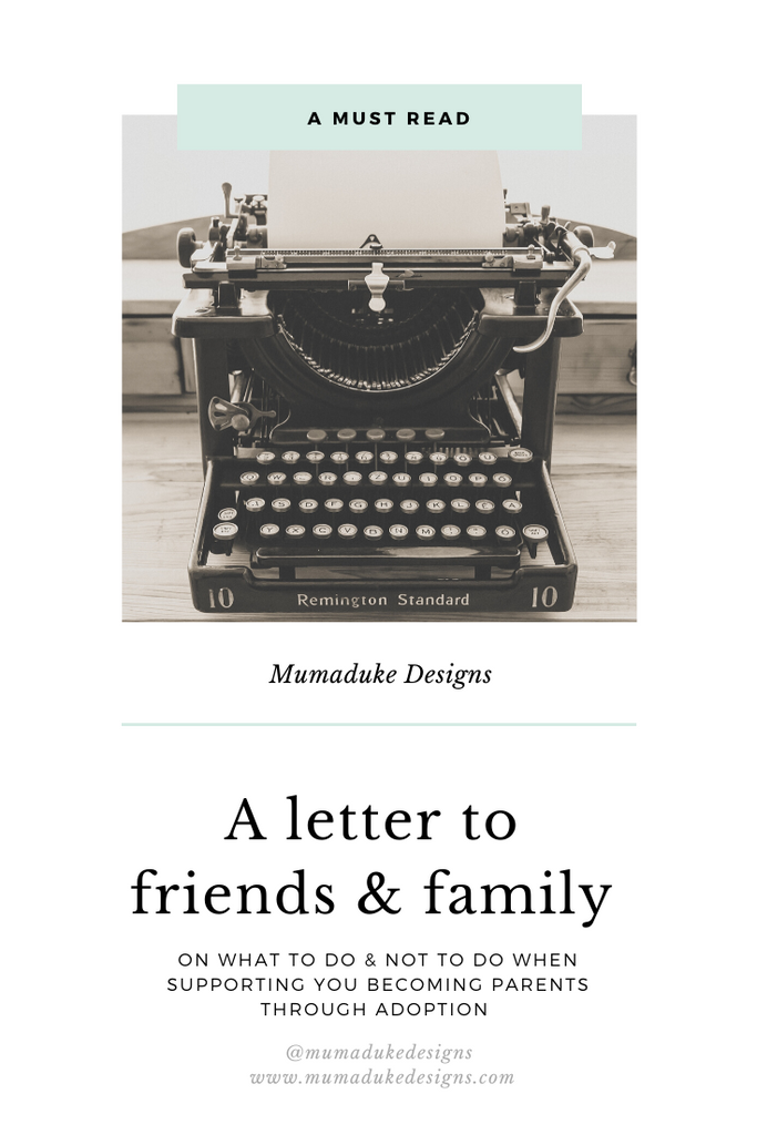 A letter to family and friends