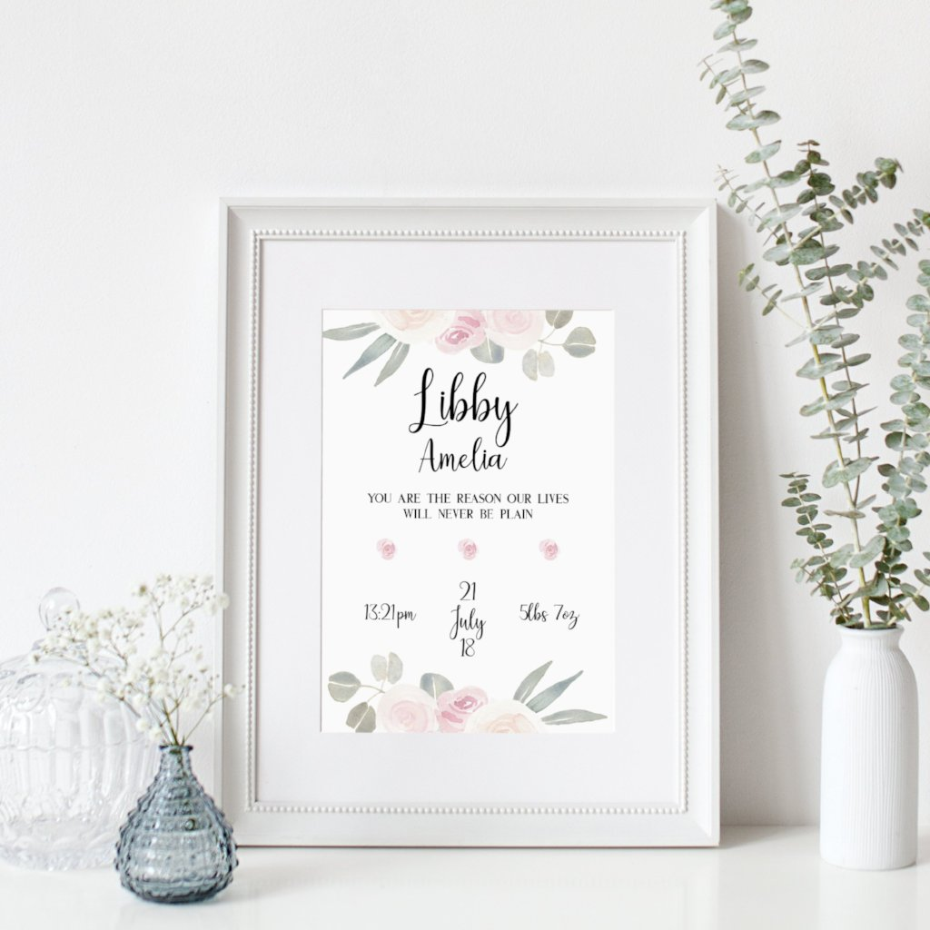 Birth Announcement - Floral Design