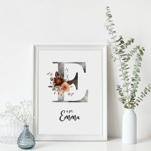 Personalised Floral Initial and Name
