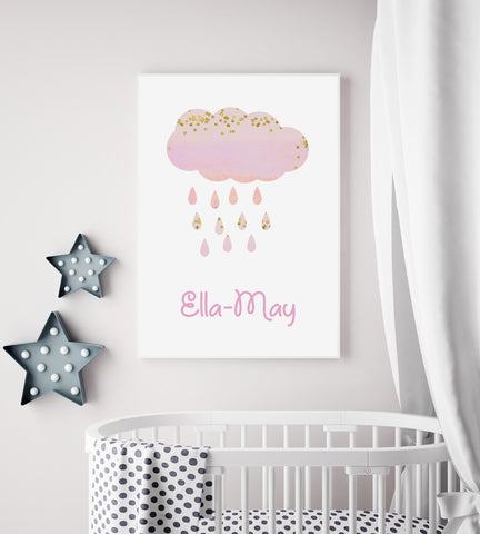 Personalised Cloud Nursery Print - Pink