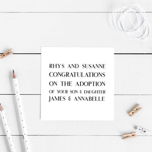 Personalised congratulations on the adoption of...' card