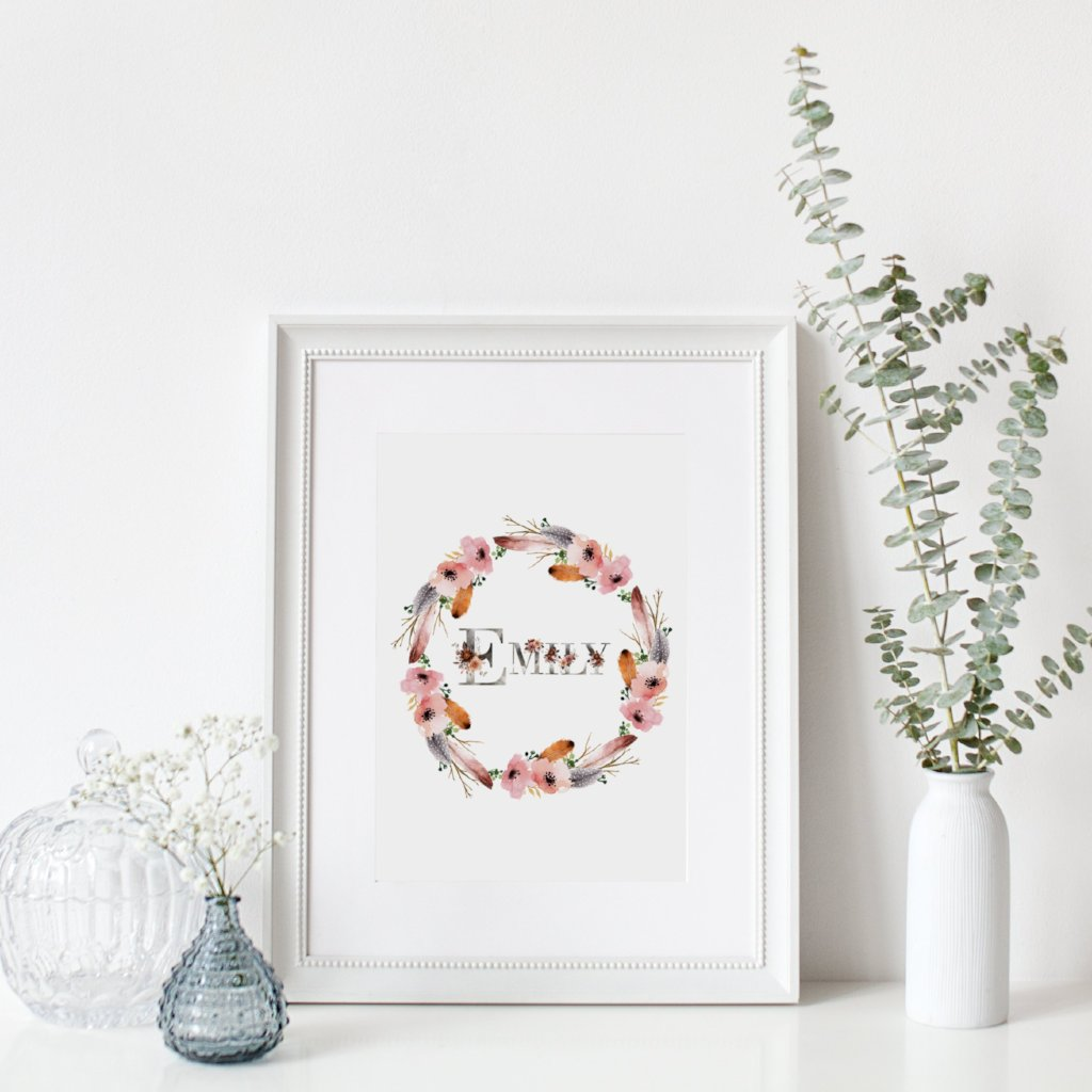 Personalised Floral Wreath and Name