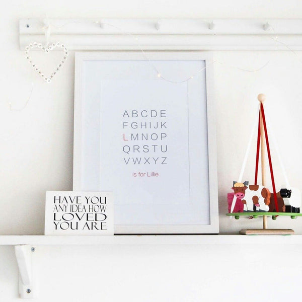Alphabet Print / Initials / Name print / Nursery Print / ABC print / Typography / Baby shower gift
